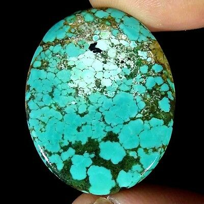 37.80Cts 100% NATURAL DESIGNER TIBET TURQUOISE OVAL CABOCHON UNTREATED GEMSTONE