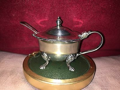 Old Silver Plated Mustard Pot With Four Claw Feet,Original Liner & Wavy Rim