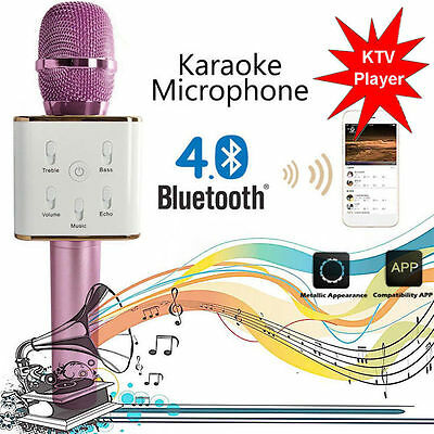 Pink Q7 Wireless Bluetooth Handheld KTV Karaoke Microphone Mic Speaker Phone VIP