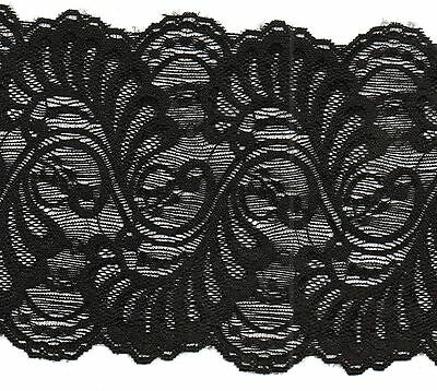 Black Stretch Lace Trimming 5mts 13cm Wide