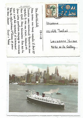 Jamaica 3D+6D  Kingston 1962 Card S/s Hanseatic Hamburg Linie To Suisse