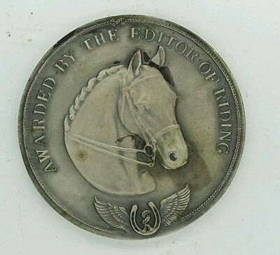 Silver Plated Vintage Novice Pony First Prize Medal Awarded By Editor Of Riding