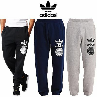 New Mens Adidas Original Fleece Trefoil Tracksuit Logo Graphic Joggers Pants