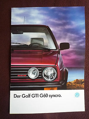 VW Golf GTI G60 Syncro Sales Brochure - German Text