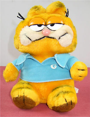 Vintage Official Garfield Cat 8 In Seated Soft Toy Blue Monogrammed Polo Shirt