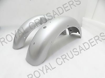 NEW ROYAL ENIELD CLASSIC C5 500cc SILVER PAINTED MUDGUARD SET #RE148