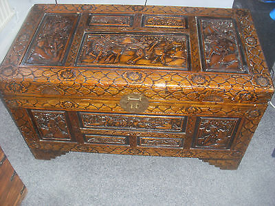 Antique Chinese Carved Camphor Wood Chest