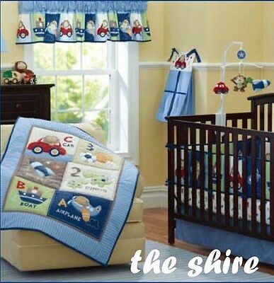 Baby Bedding Crib Cot Quilt Sheet Set-NEW 8pcs Quilt Bumper Sheet Dust Ruffle Na