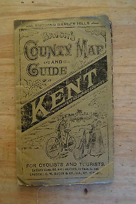 vintage1895 old antique Bacon's County Map and Guide of Kent for cyclists etc