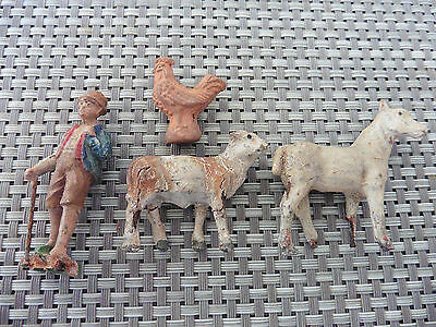 Vintage Farm, Cow, Horse, Farmer, Elastolin? Spares/Repair. Britains Size.