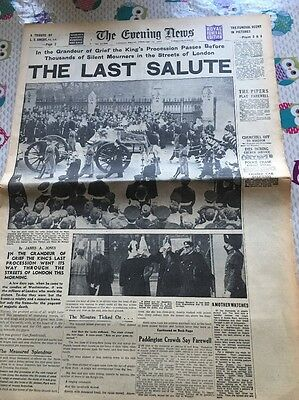 EVENING NEWS NEWSPAPER- Feb 15 1952-King George VI Death Thousands of Mourners.