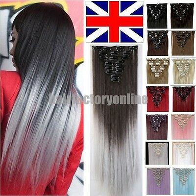 Real Thick Clip In AS Human Hair Extensions Full Head UK Hair Extentions Ombre