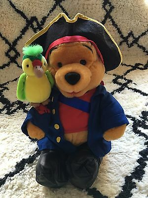 Vintage Disney Store Winnie The Pooh Pirate Plush Toy With Parrot