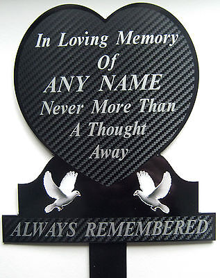 Memorial Plaque Grave Heart Personalised ANY NAME In Loving Memory