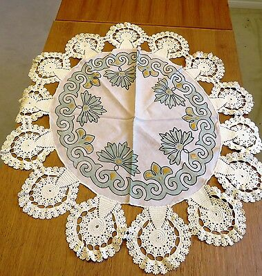 """Antique Arts & Crafts Tablecloth Art Deco 36"""" Table Cover Hand Embroidered"""