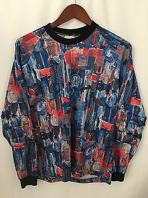 Womens Goalie Soccer football Shirt Large Graphic Red White Blue Made In USA
