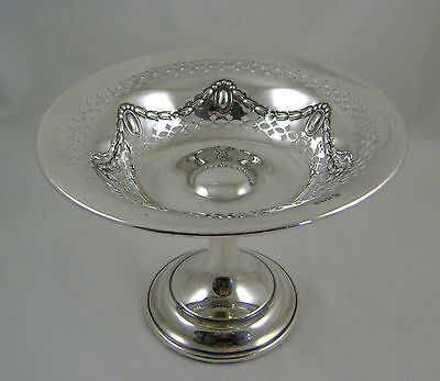 Sterling Silver Pierced Comport With Swags HM Sheffield 1912