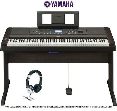 YAMAHA DGX650 Black PIANOFORTE DIGITALE ARRANGER USB 88 TASTI PESATI + CUFFIA