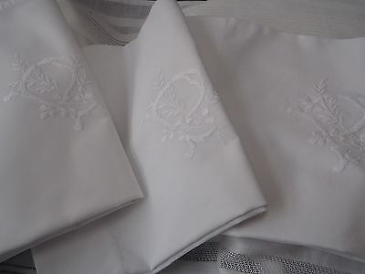 Pair plus one of Antique Irish Linen cotton embroidered pillowcases 'P' ties