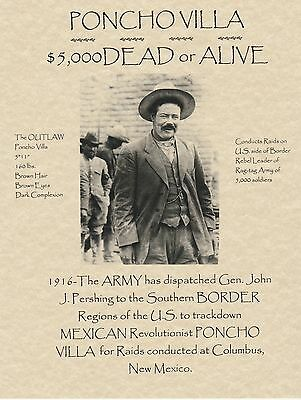 Pancho Villa~(I Combine Shipping)Old West,wanted,poster,mexico,outlaw