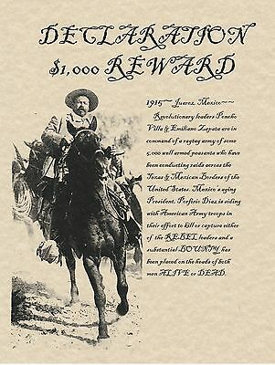 Pancho Villa~(I Combine Shipping)~Old West,wanted,poster,mexico,