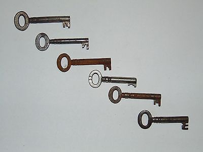 6 SMALL ANTIQUE METAL KEYS FOR LARGER WRITING SLOPE BOX or SMALL FURNITURE