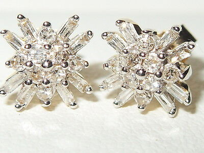Beautiful Gems Tv 9Ct Yellow Gold 1/4Ct Baguette, Round Diamond Cluster Earrings