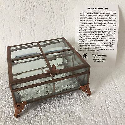 Handcrafted Trinket Jewelry Box Copper Foiling The Glass Haus Beveled Butterfly