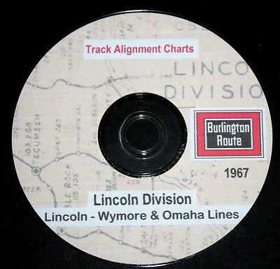 CB & Q RR Burlington1967 Lincoln-Wymore-Omaha Lines Track Chart PDF Pages on DVD
