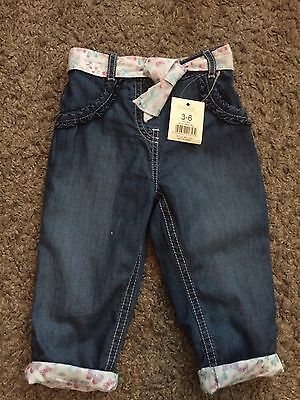 Baby Girls Soft Denim Look Trousers 3-6 Months Brand New With Tags