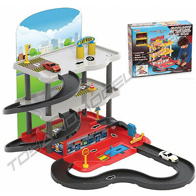 Toy car garage service station 3 parking levels 2 die cast cars vehicle play set