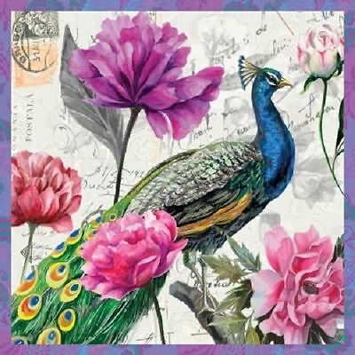 4 x Paper Napkins - Peacock With Flowers - Ideal for Decoupage / Napkin Art
