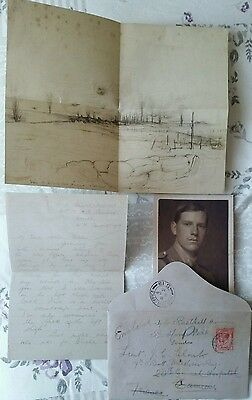 COPY OF WW1 SOMME.CAPT.COSMO CLARK SKETCH AND LETTER TO PARENTS 8th Aug Delville