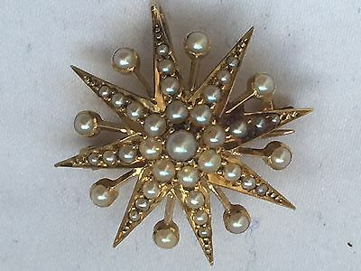 Attractive Fine Victorian 15ct Gold & Seed Pearl  Star Pendant / Brooch-3.8g