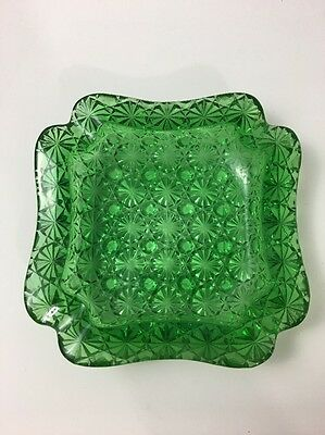 Vintage Glass Ashtray Green Button and Daisy L.G. Wright GD