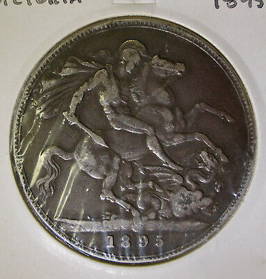 "Queen Victoria ""old head"" silver Crown 1895 in Fine condition"