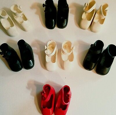 "Seven pair of vintage 8"" Betsy McCall shoes including RED!"