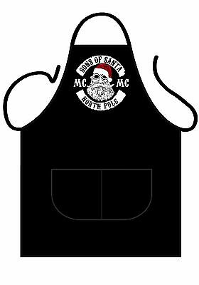 Novelty black apron, featuring Sons Of Santa MC, great present for bikers