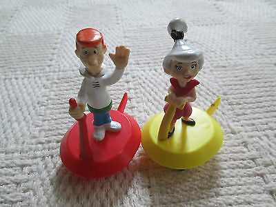"""Lot of 2 JETSONS Figures  GEORGE JETSON & JUDY  3.5"""" PVC Toy - Cake Topper?"""