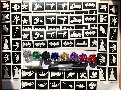 GLITTER TATTOO KIT SUPERHERO and PRINCESS 144 stencils glitters glue  MADE in UK