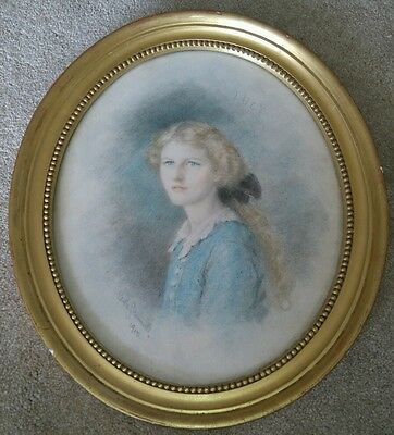 EDITH SCANNELL 1912 Edwardian Pastel Portrait Drawing of a Pretty Young Lady