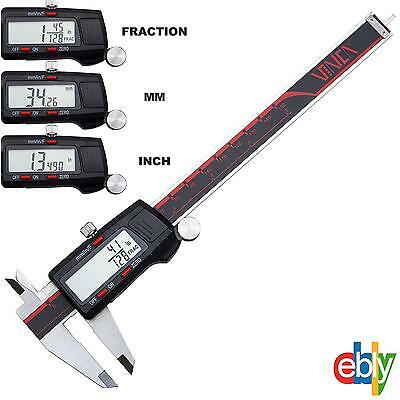 "6"" DIGITAL ELECTRONIC CALIPER FRACTIONAL 3 Way LCD Stainless Steel Measuring"