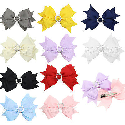 "1x 4"" Girls Baby Boutique Ribbon Bling Hair Bow Clip + Rhinestone Buckle Slider"