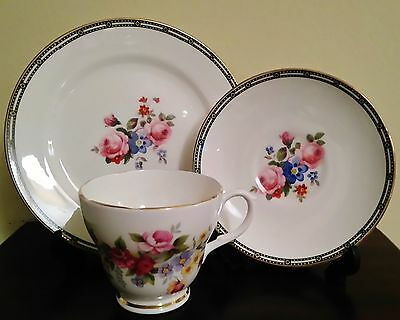 DUCHESS 329 Vintage Bone China Pair of Floral Tea Cups Pink Roses Blue Flowers