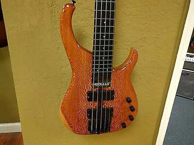Modulus Quantum Lacewood Fretless 5-String Electric Bass w/case!