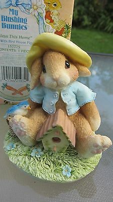 New My Blushing Bunnies Figurine:Bless This Home 157775 Enesco Bunny & Birdhouse