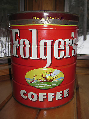 Vintage 1950s FOLGER'S COFFEE 4 lb. Can