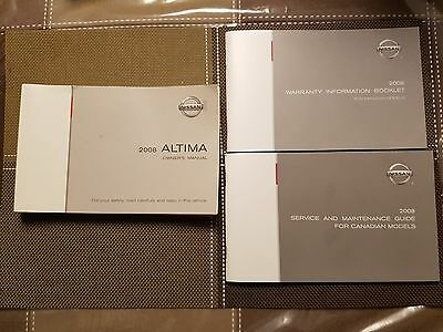 2008 Nissan Altima Owners Manual with warranty and reference guide and case