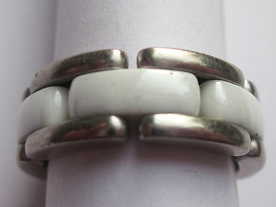 Chanel, flexible, Ultra , medium ring in ceramic and 18ct white gold , size M