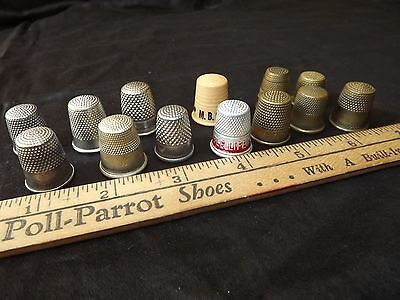 Lot of 13 Vintage Brass, Aluminum, Plastic Sewing Thimbles - Germany England